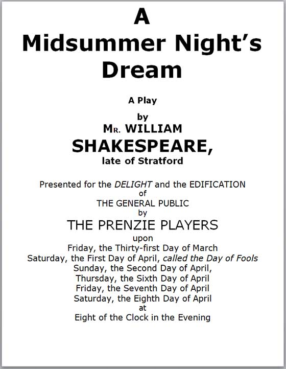 Program for A Midsummer Night's Dream