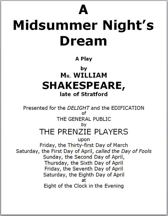 Program for A Midsummer Night's Dream