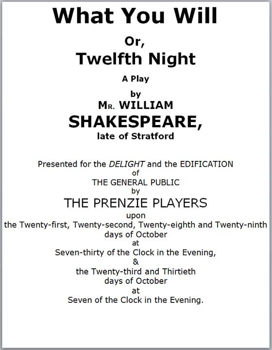 Program for Twelfth Night