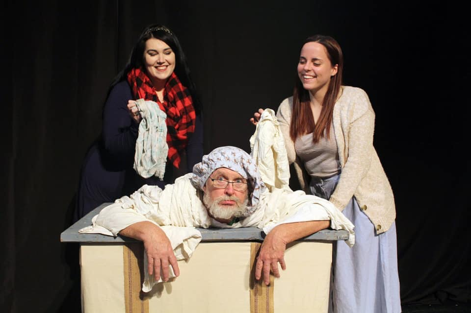 Kitty Israel, Emma Regnier and Mike Carron in Merry Wives of Windsor